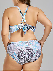 Halter  Backless Lace-Up  Printed  Mid-Rise Plus Size Beachwear
