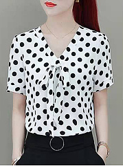 Daily  V-Neck  Polka Dot  Short Sleeve Blous