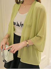 Plain  Batwing Sleeve  Three-Quarter Sleeve Cardigans