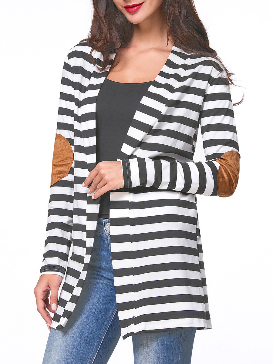 Collarless Decorative Patch Striped Cardigans