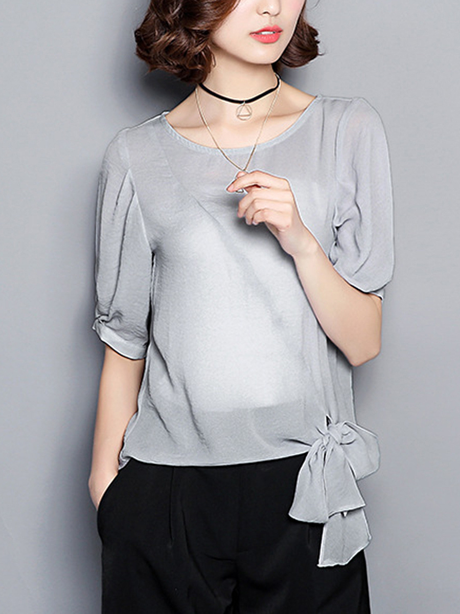 Round Neck Tie-Front Plain Blouse