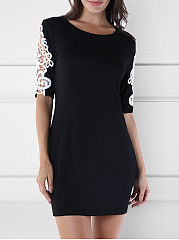 Round Neck  Hollow Out Lace Plain Bodycon Dress