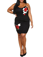 Spaghetti Strap  Embroidery Plain Plus Size Bodycon Dresses