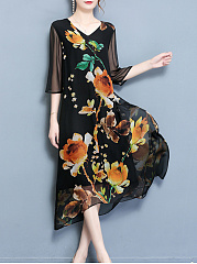 V-Neck Hollow Out Printed Maxi Dress