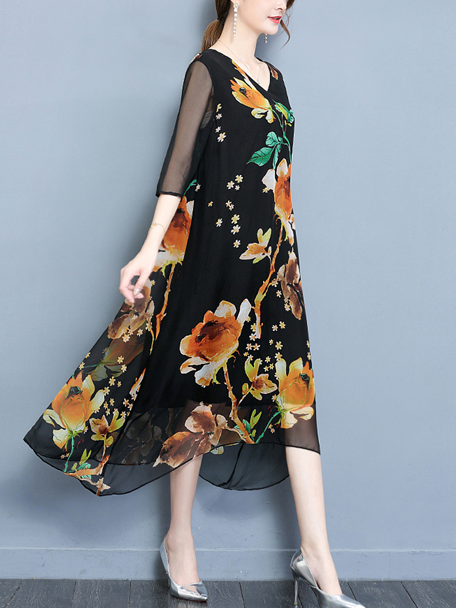 ... Hollow Out Printed Maxi Dress. V-Neck ...