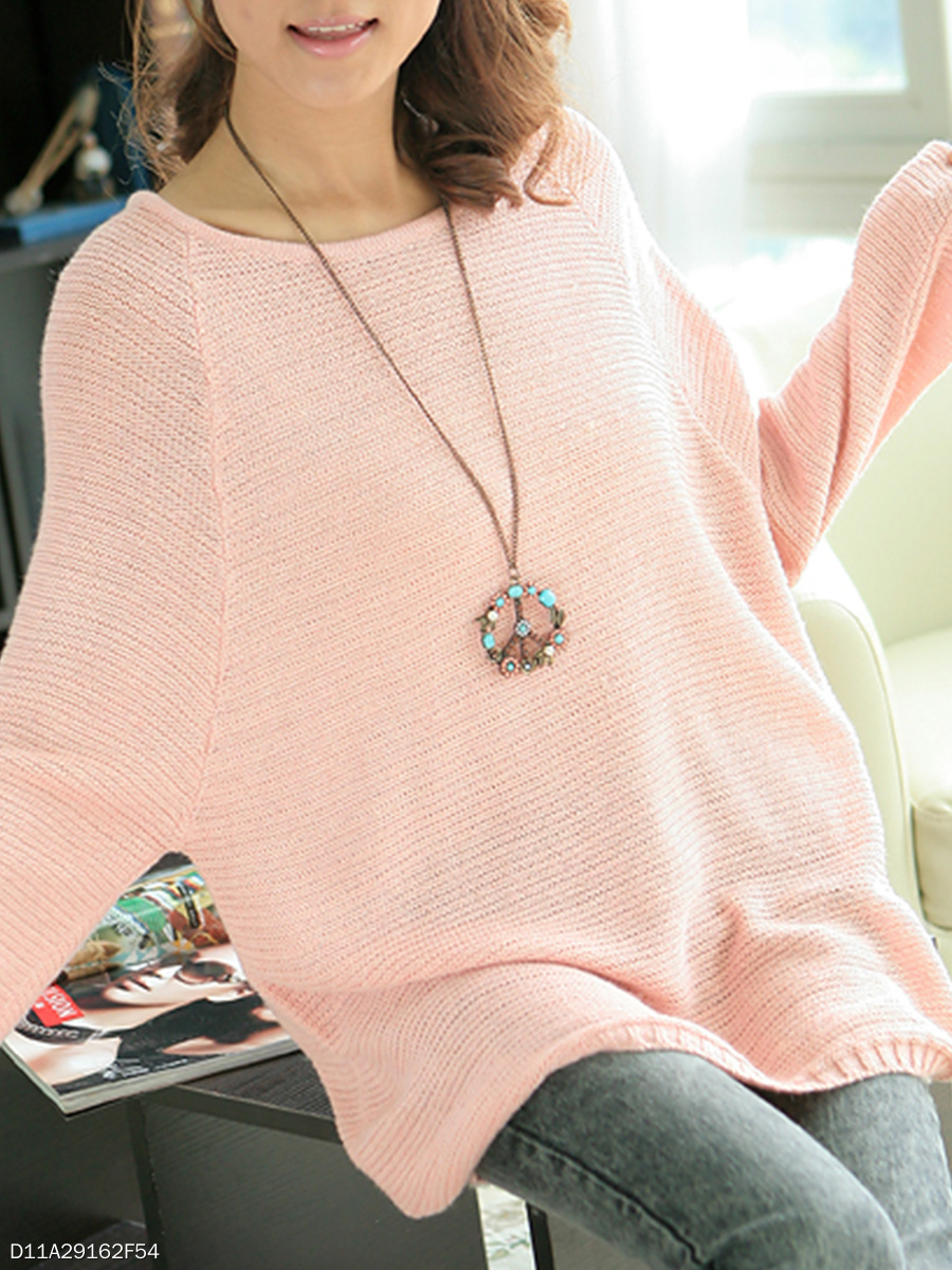Round Neck  Plain Loose Sweaters Pullover