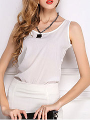 Spring Summer  Chiffon  Women  Round Neck  Plain Sleeveless T-Shirts