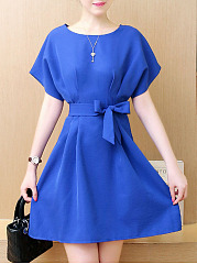 Round Neck Bowknot Plain Batwing Sleeve Skater Dress