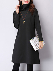 High Neck  Casual Plain Shift Dress
