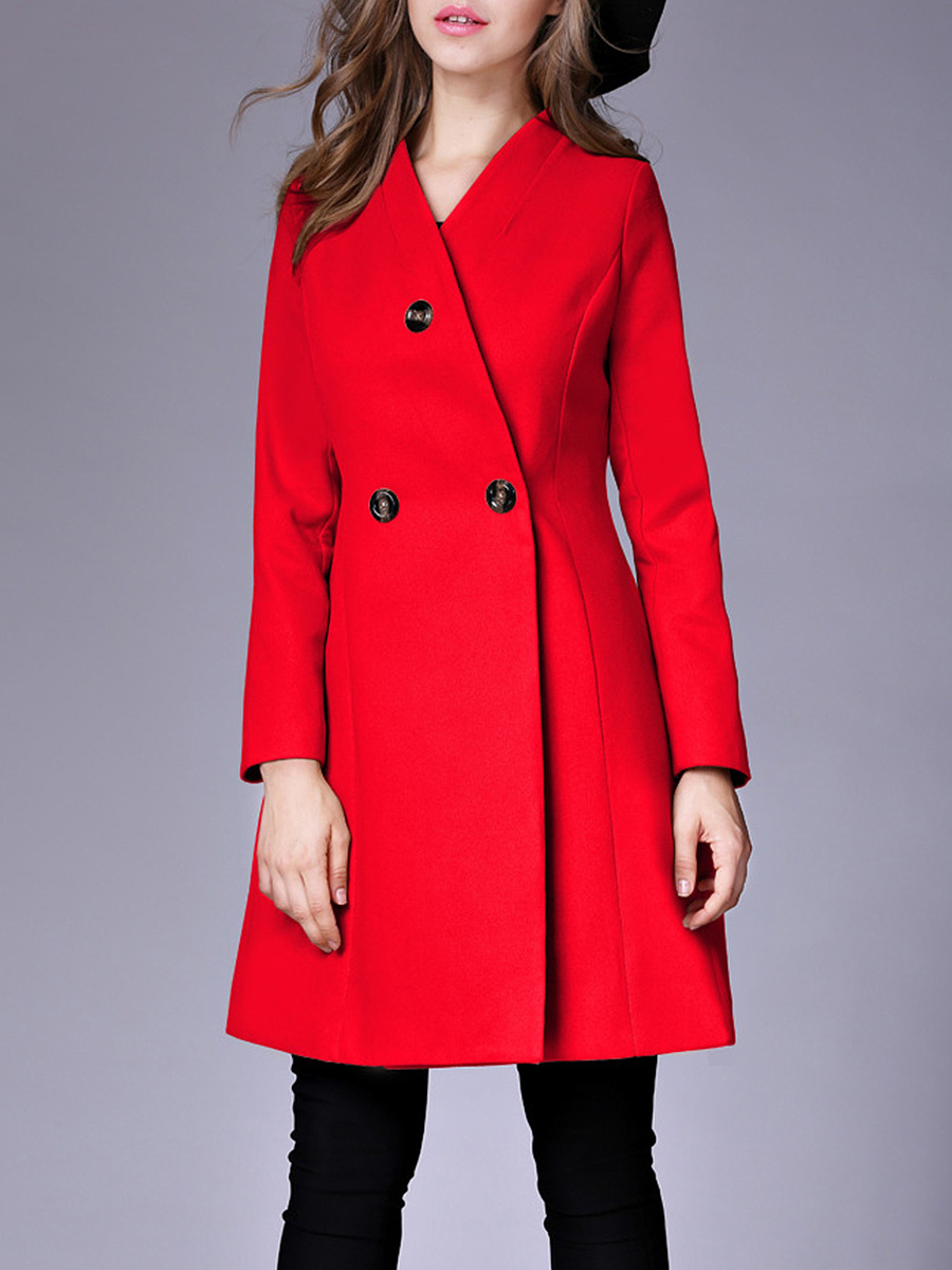 Classical Collarless Plain Woolen Coat