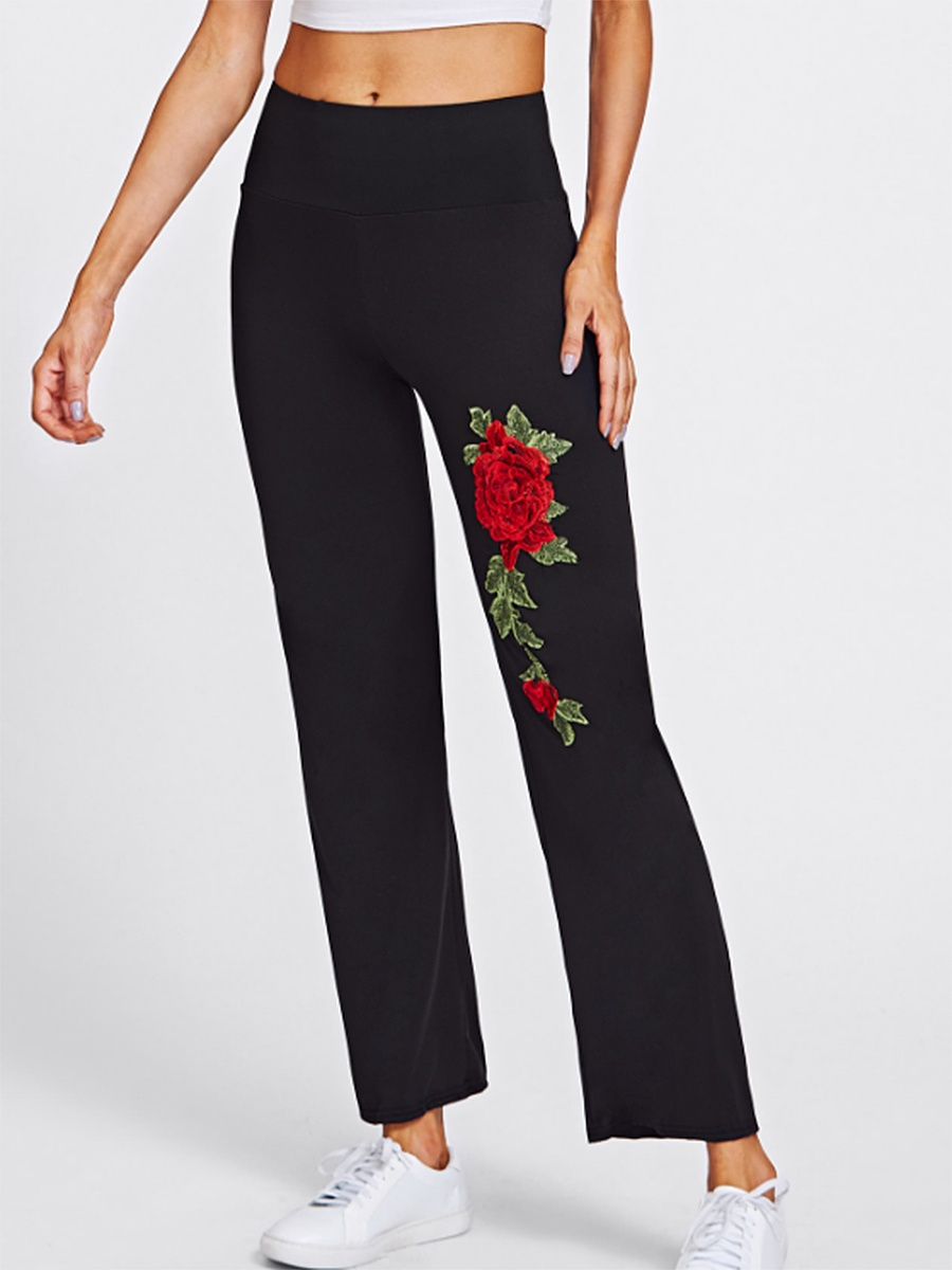 Embroidery Patch Straight Casual Pants