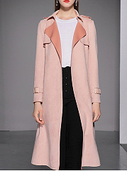 Belt  Plain  Long Sleeve Trench Coats