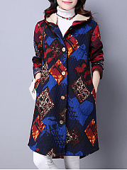 Hooded  Single Breasted  Abstract Print  Long Sleeve Coats