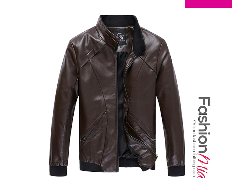 High Neck Rib Knit Cuffs Men PU Leather Jacket FASHIONMIA