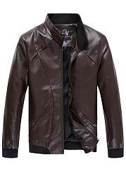 High-Neck-Rib-Knit-Cuffs-Men-PU-Leather-Jacket