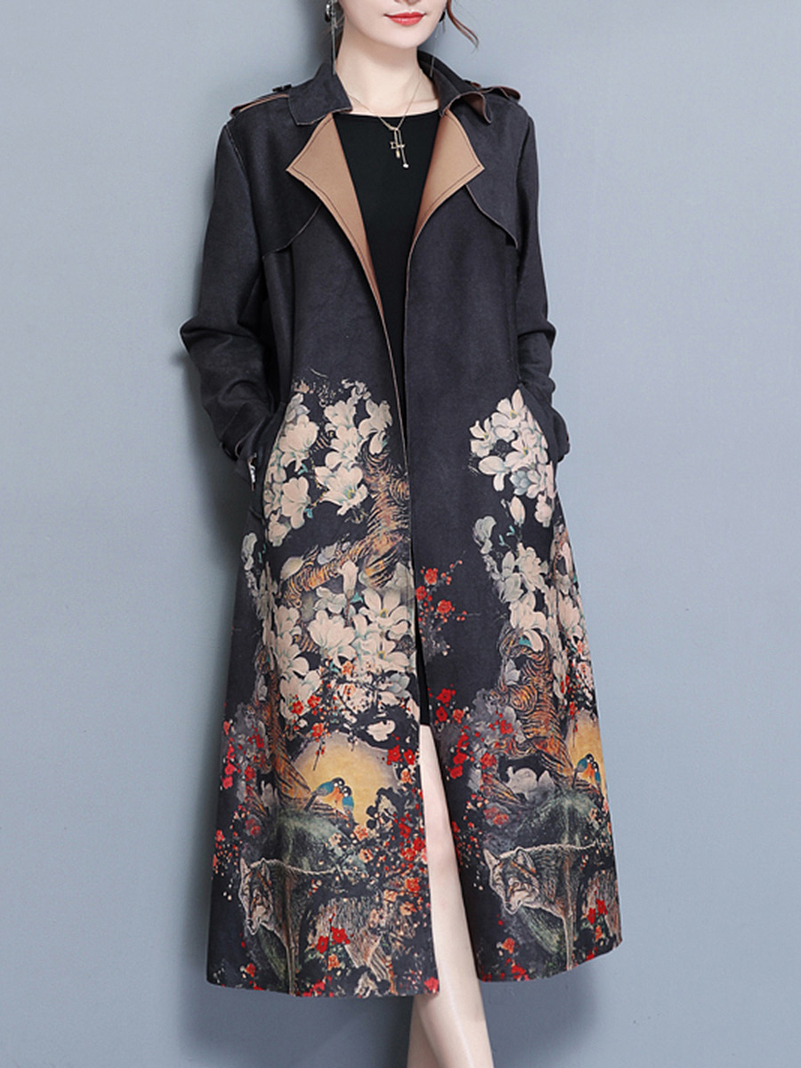 Lapel Printed Belt Pocket Wrap Trench Coat
