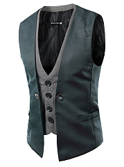 Men Patchwork Plaid Fake Two-Piece Waistcoat