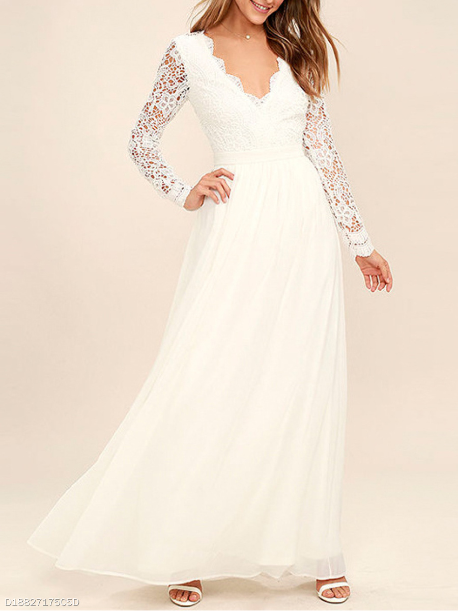 V-Neck  Backless  Lace Evening Dress
