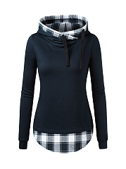Hooded  Drawstring  Colouring Plaid  Long Sleeve Hoodies