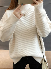 High Neck  Striped  Long Sleeve Pullover
