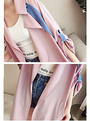Fold-Over Collar  Decorative Button  Color Block  Raglan Sleeve  Long Sleeve Trench Coats