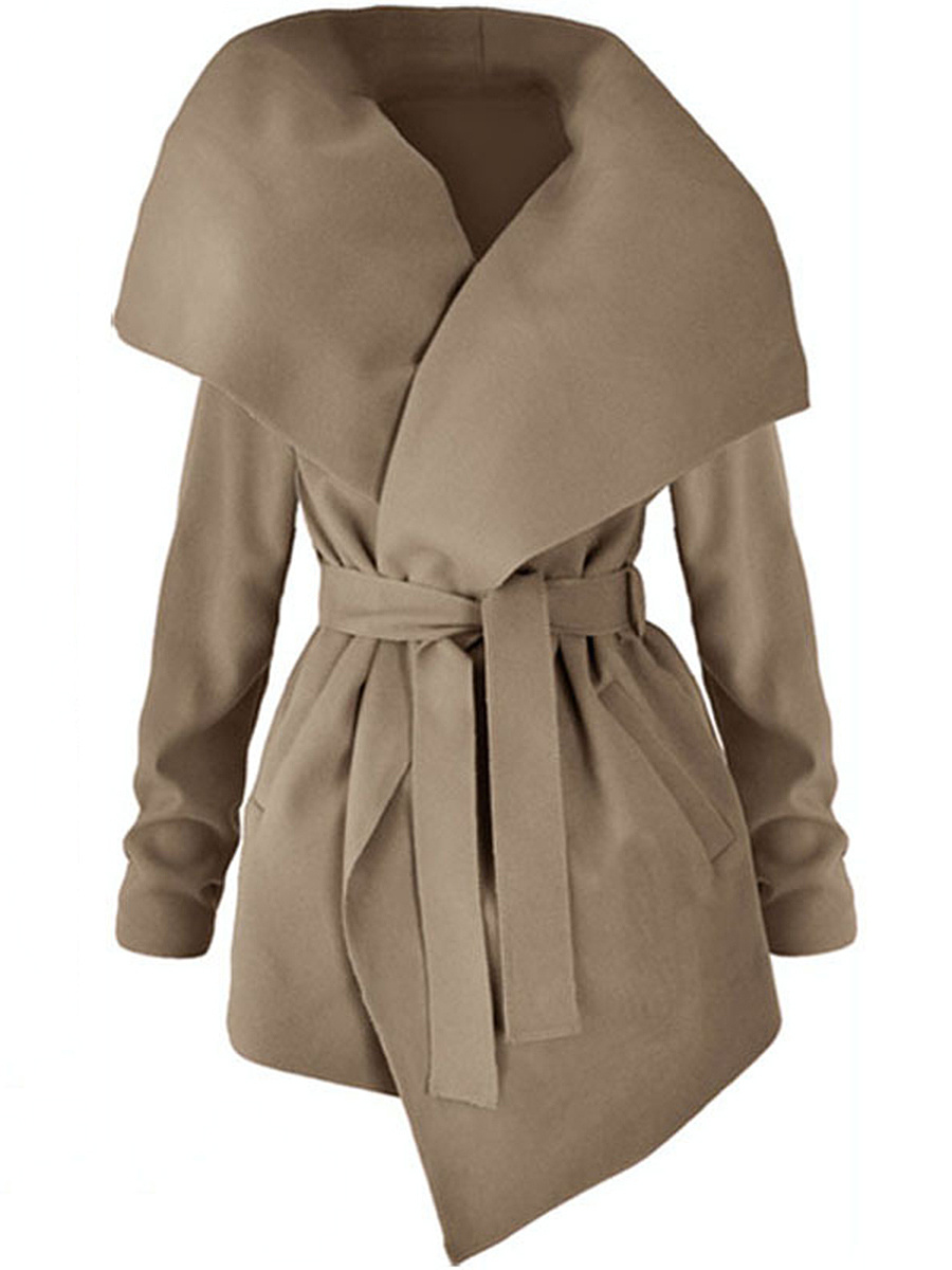 Lapel Plain Pocket Belt Wrap Coat