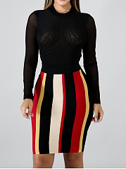 Round Neck  Colouring Striped Bodycon Dress