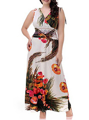 V-Neck  Elastic Waist  Abstract Print Plus Size Midi  Maxi Dresses