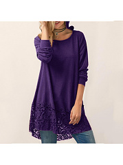 Autumn Spring  Women  Hooded  Decorative Lace  Plain  Long Sleeve Long Sleeve T-Shirts