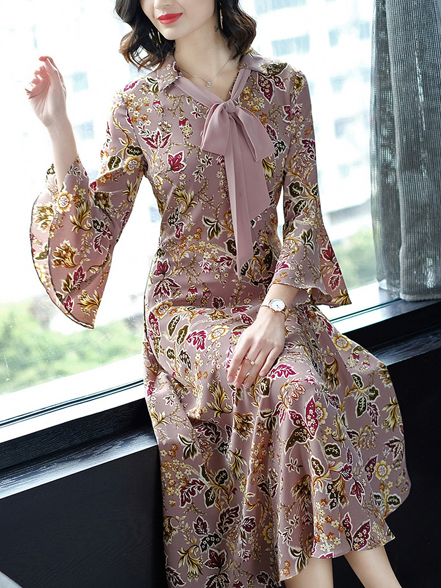 Tie Collar  Printed  Polyester Maxi Dress