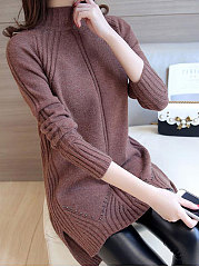 High Neck  Side-Vented  Plain Striped  Long Sleeve Sweaters