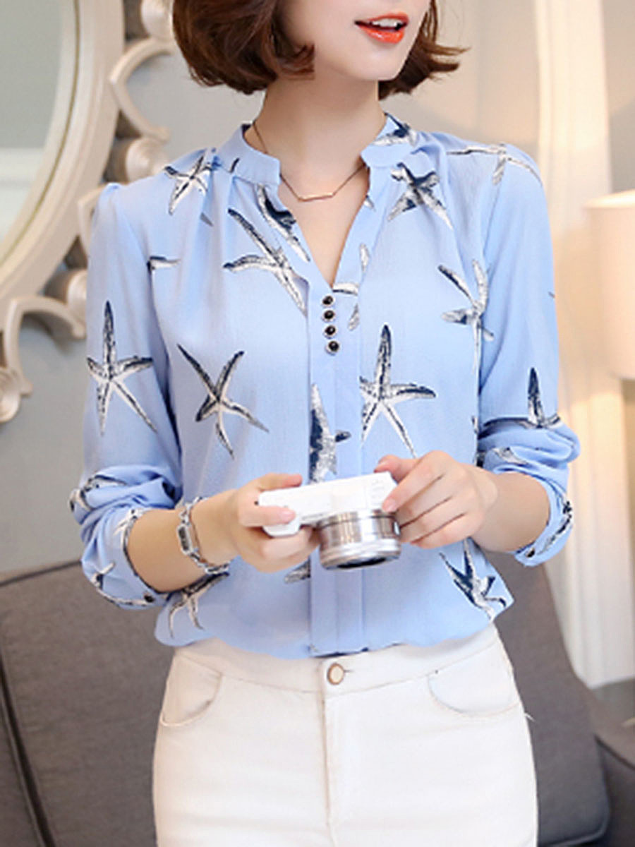 Autumn Spring  Chiffon  Women  V-Neck  Decorative Button  Printed  Long Sleeve Blouses