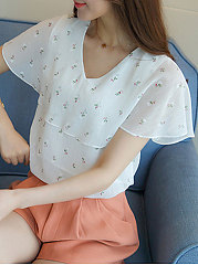 Summer  Acrylic Chiffon  Women  V-Neck  Flounce  Floral Printed  Batwing Sleeve  Short Sleeve Blouses
