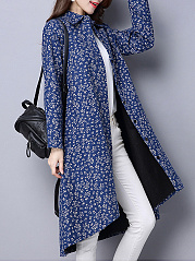 Lapel High-Low Patch Pocket Printed Coat