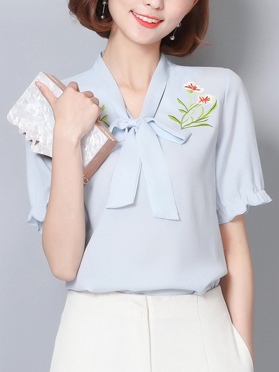 Tie Collar  Embroidery Blouses