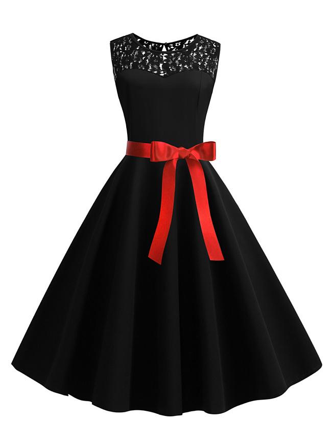 Fashionmia Round Neck  Belt  Hollow Out Lace Plain Skater Dress