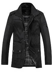 Lapel  Flap Pocket  Plain Men Coat
