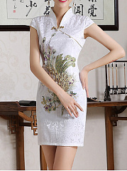 Band Collar  Brocade Bodycon Dress