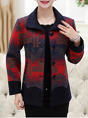 Doll Collar  Single Breasted  Abstract Print  Long Sleeve Coats