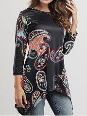 Autumn Spring  Polyester  Women  Asymmetric Hem  Abstract Print Long Sleeve T-Shirts
