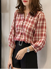 Polyester  V-Neck  Plaid  Puff Sleeve  Three-Quarter Sleeve Blouse
