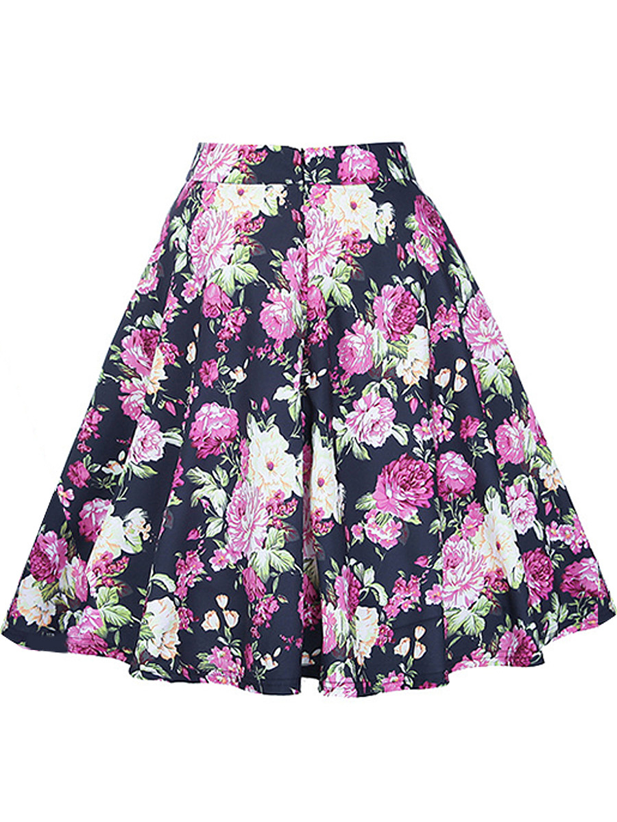 Delightful Floral Printed Flared Midi Skirt