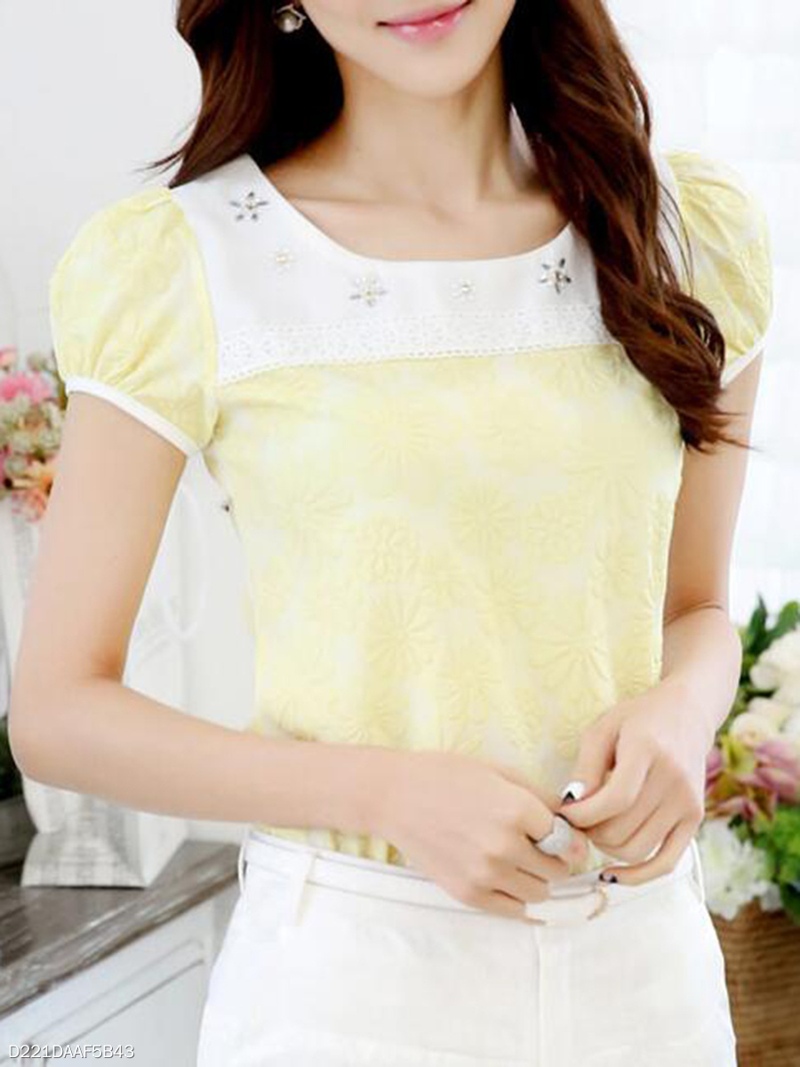 Summer  Chiffon  Women  Round Neck  Decorative Lace  Puff Sleeve  Short Sleeve Blouses
