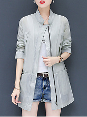Band Collar  Side Slit  Plain Trench Coat