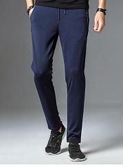 Black-Mens-Casual-Zips-Pocket-Slim-Leg-Pants