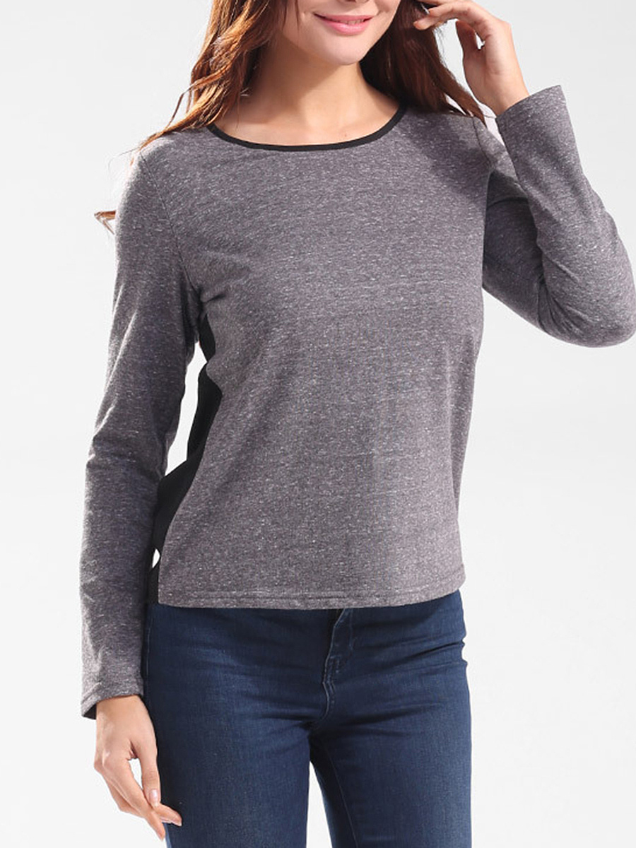 Round Neck Color Block Bowknot Long Sleeve T-Shirt