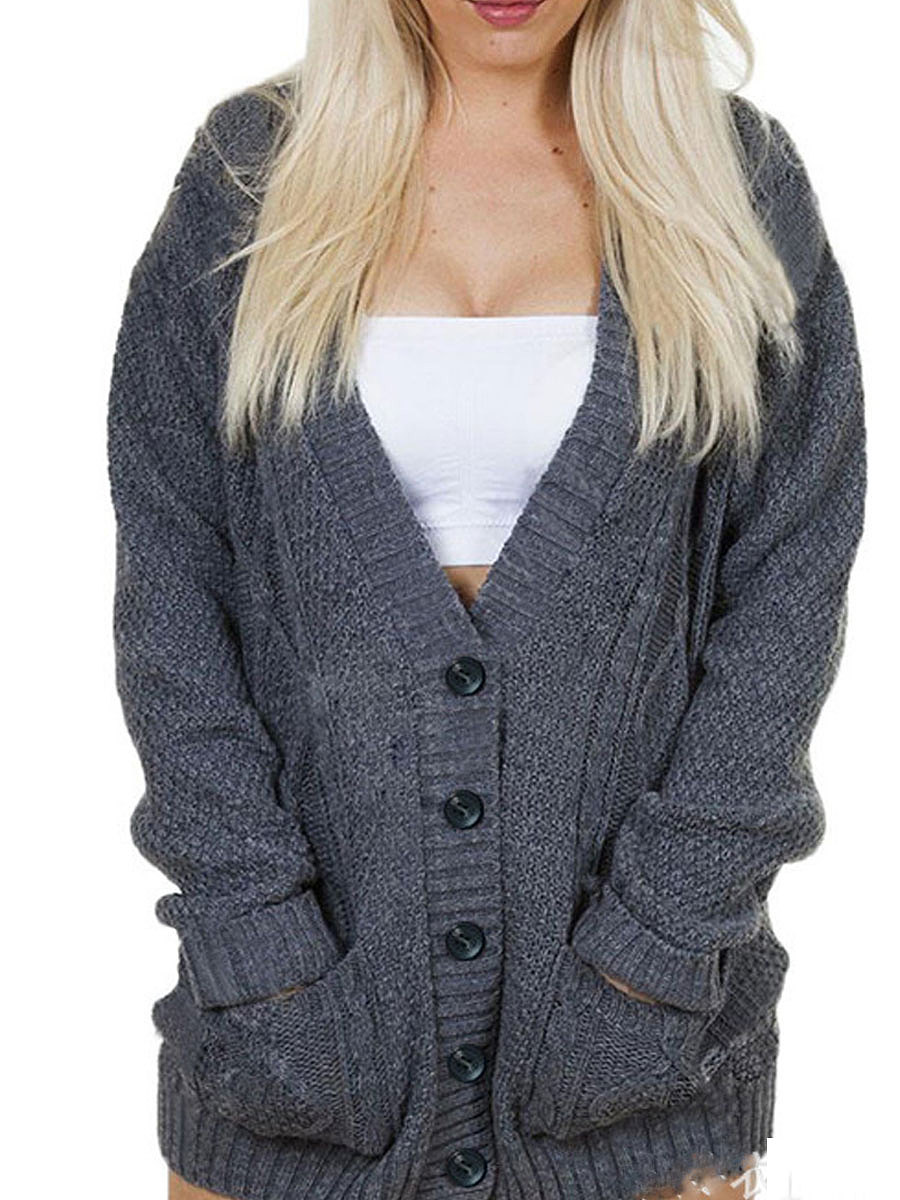 V-Neck  Single Breasted  Decorative Button  Plain Cardigans