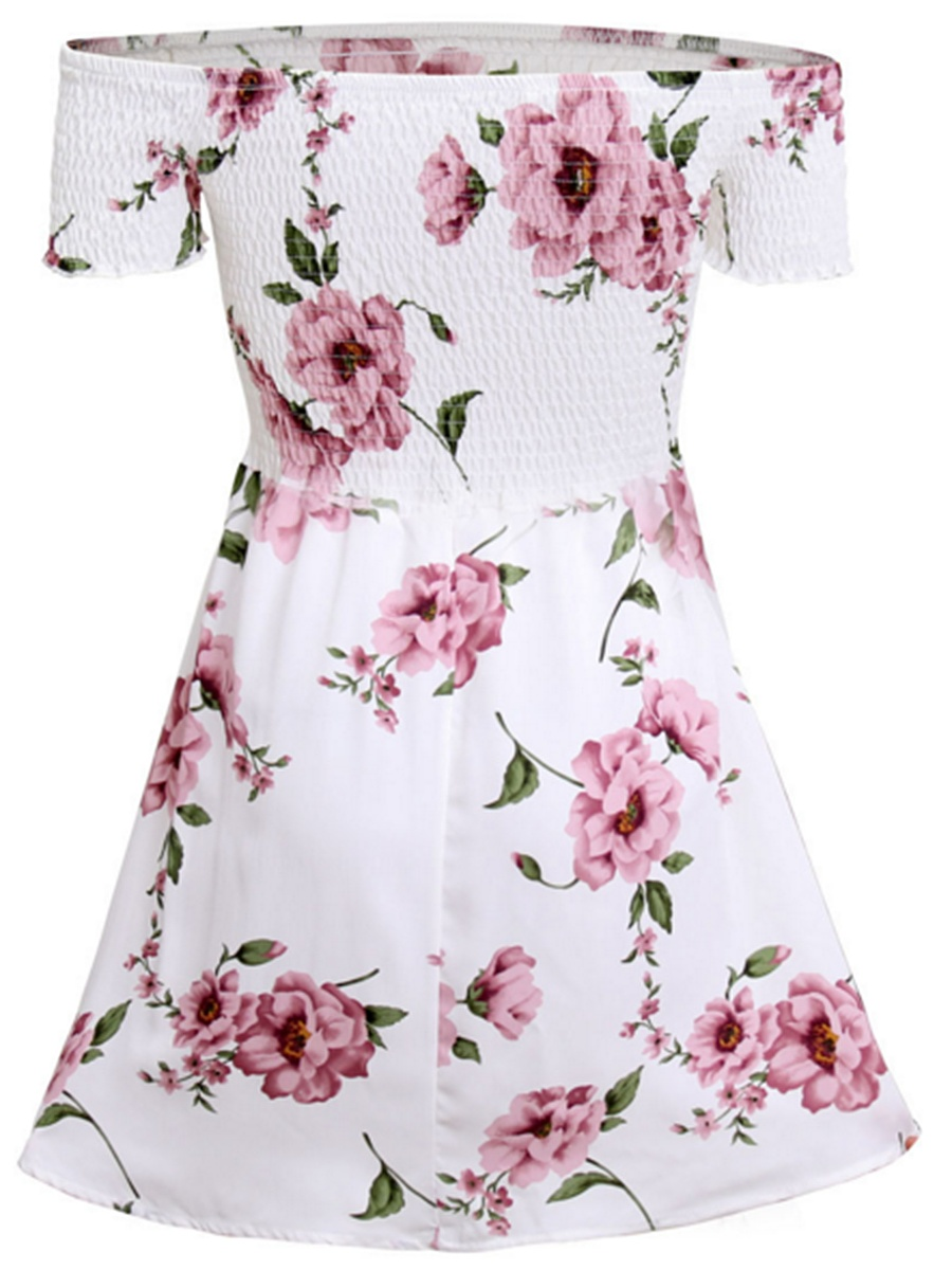 Off Shoulder Smocked Bodice Floral Printed Skater Dress