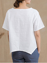 Summer  Linen  Women  Round Neck  Asymmetric Hem  Embroidery  Short Sleeve Blouses