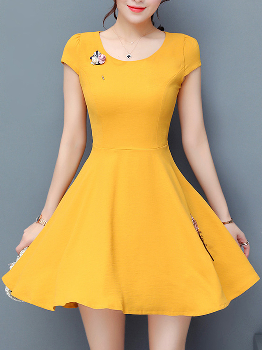 Round Neck Embroidery Brooch Skater Dress